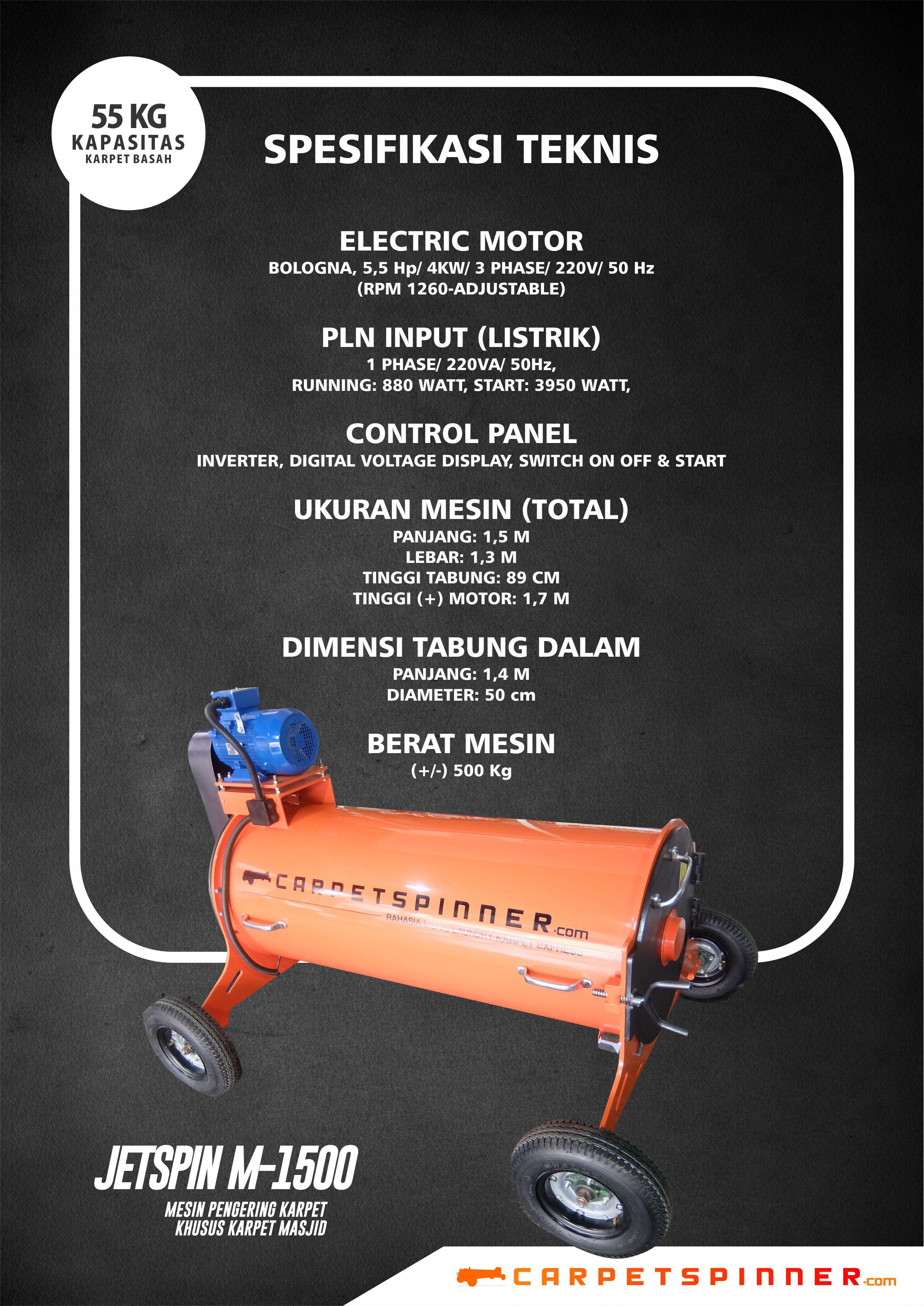 Spesifikasi Mesin Pengering Karpet JETSpin M-1500 Carpet Spinner 2019