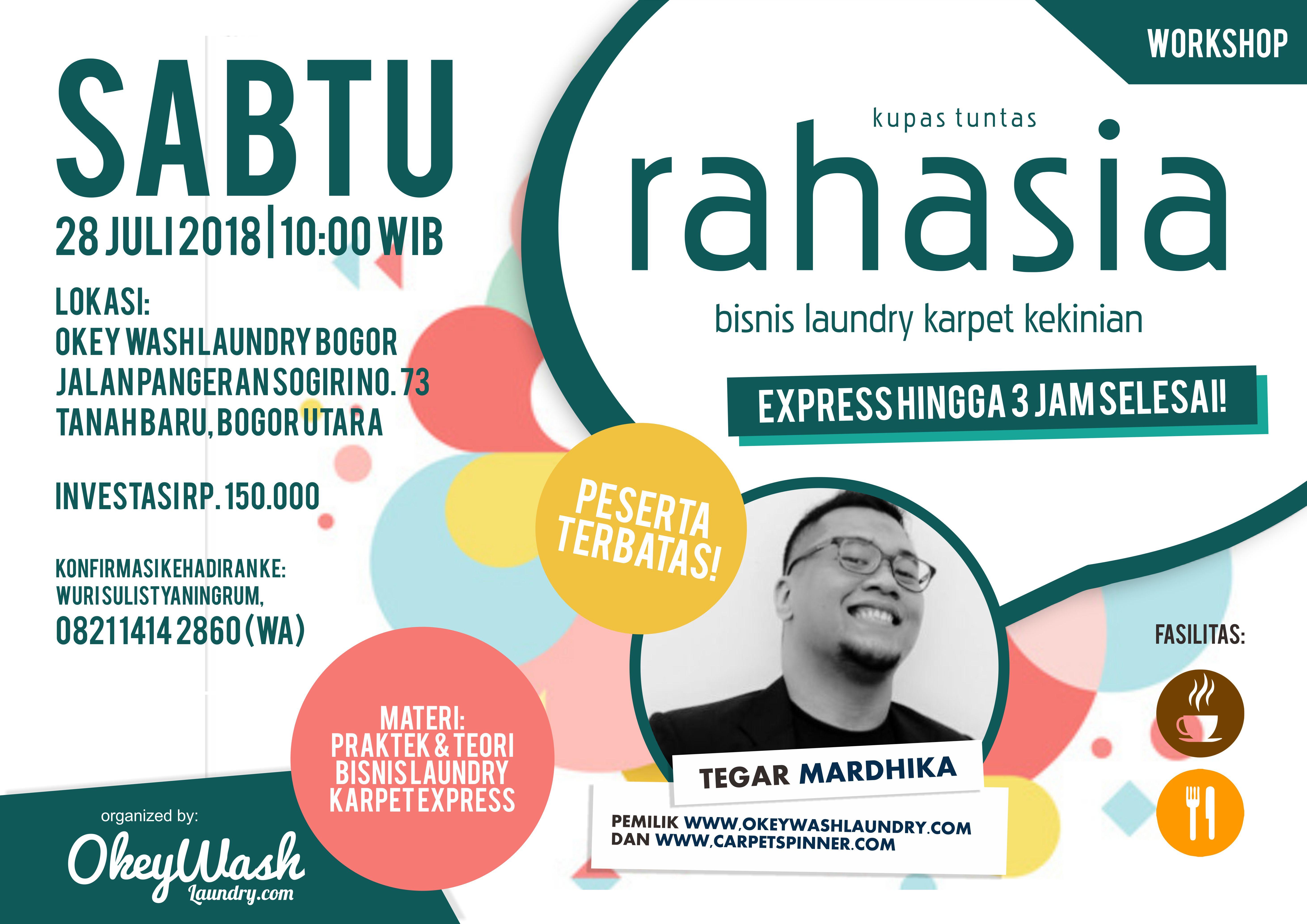 Workshop Kupas Tuntas Rahasia Bisnis Laundry Karpet Kekinian, 28 Juli 2018. Daftar Sekarang!