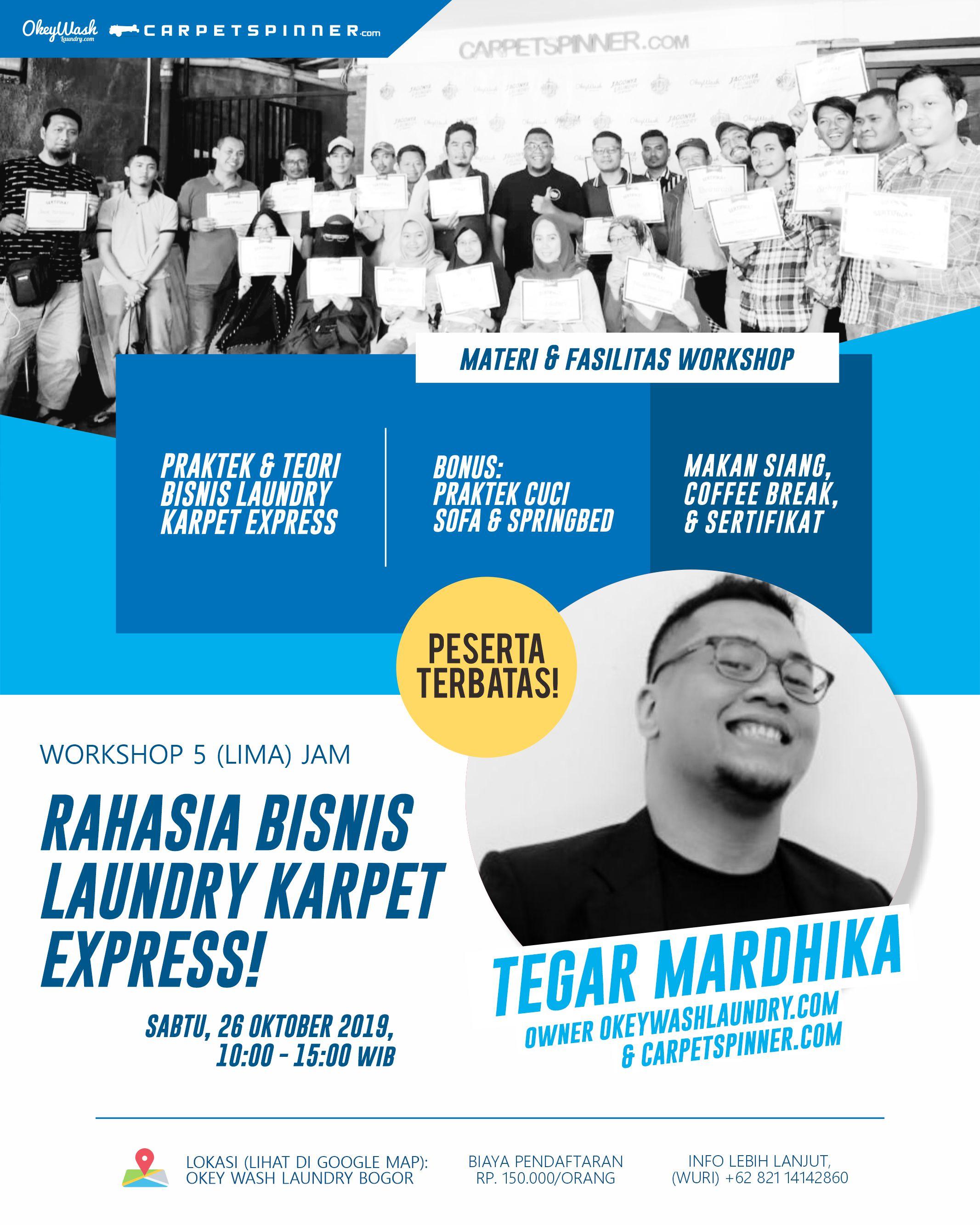 Rahasia Bisnis Laundry Karpet Express, 26 Oktober 2019. Daftar Sekarang Juga Via WhatsApp ke +6282114142860!