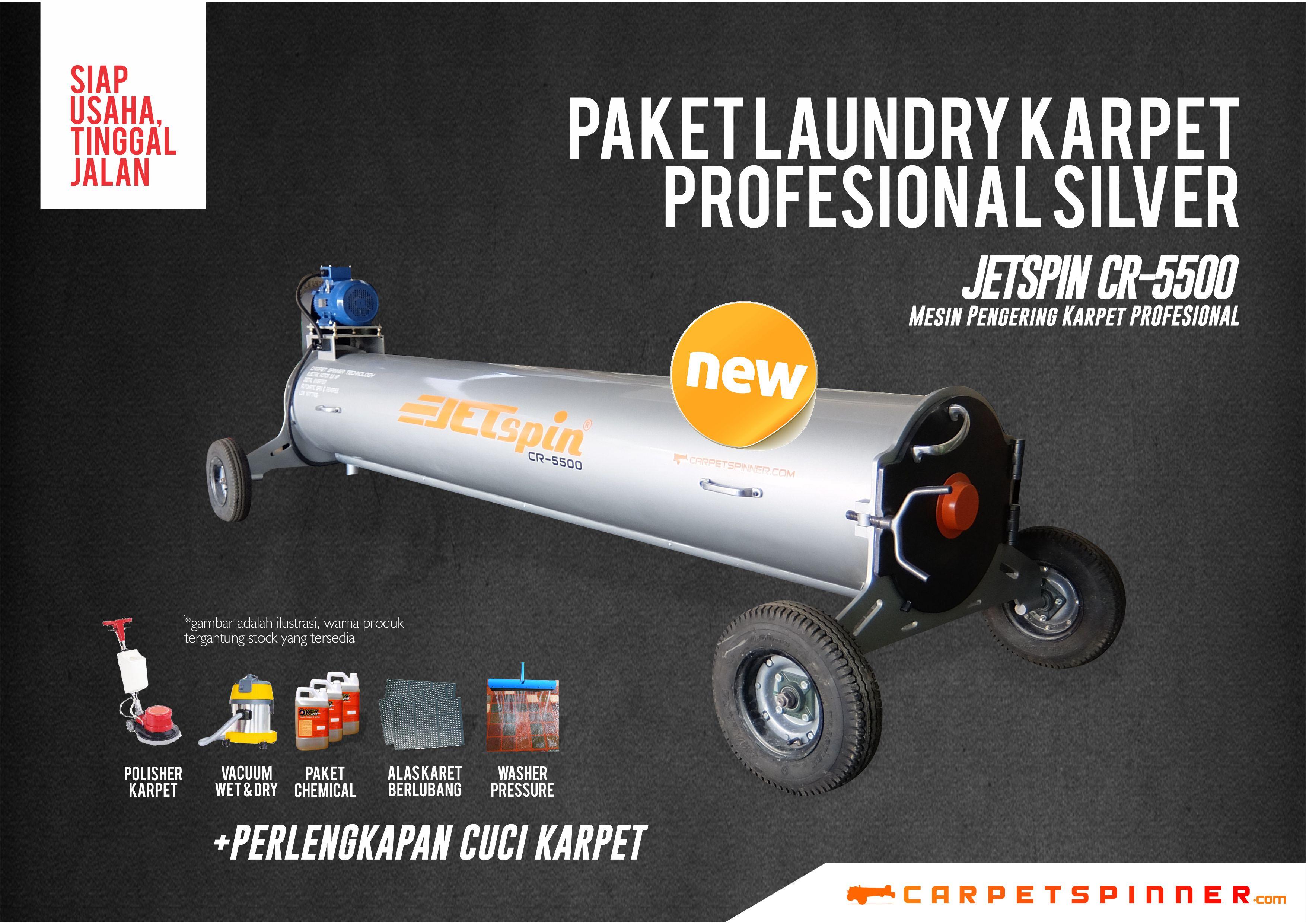 Paket Laundry Karpet Profesional JETSpin CR-5500 Silver Carpet Spinner 2019
