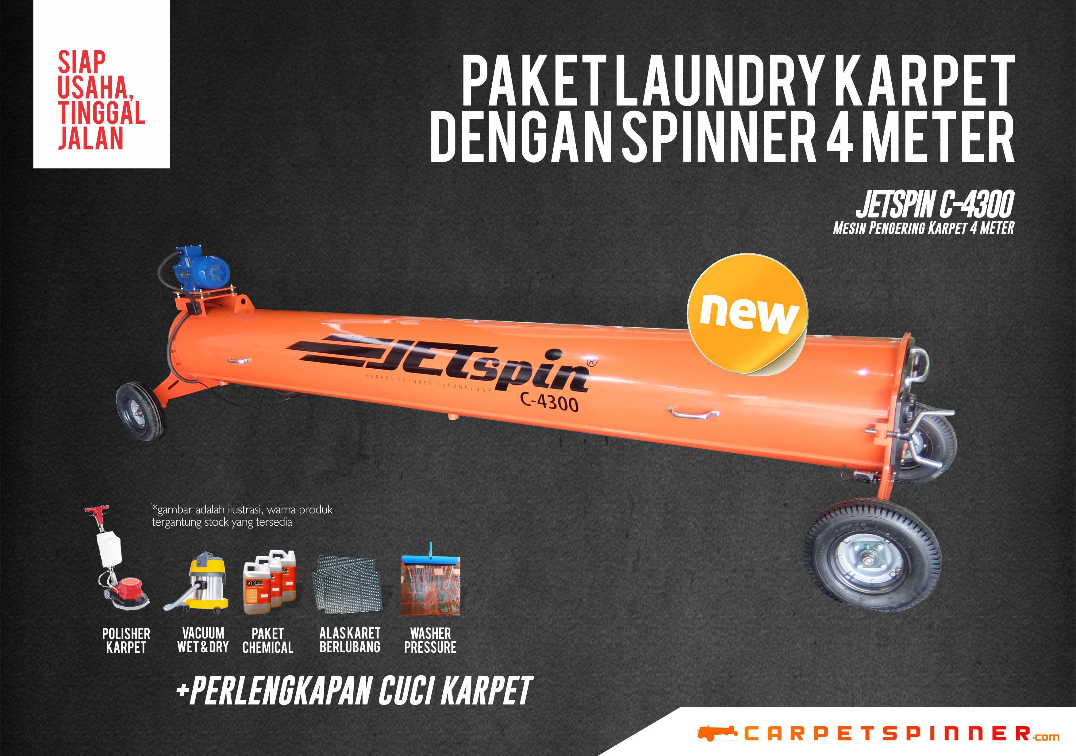 Paket Laundry Karpet Spinner 4 Meter JETSpin C-4300 Carpet Spinner 2019